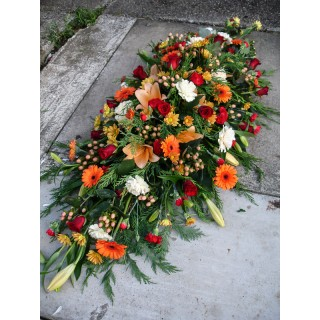 Autumnal & White Double Ended Casket / Coffin Spray