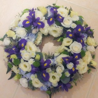 Blue & White Loose Wreath