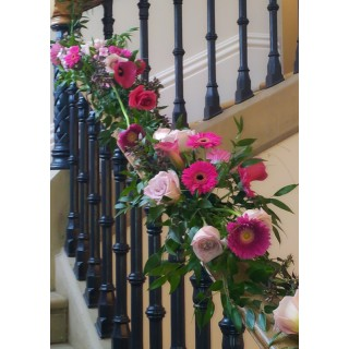 Cascading Flower Garland Dressing Oakwood Houses Staircase