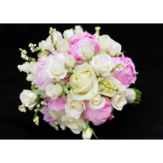 Rose, Peony, Blossom & Lily of the Valley Hand Tied