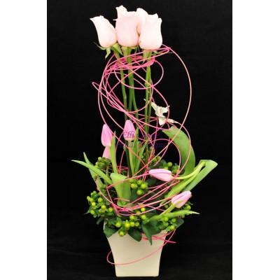 Roses, Tulips, Hypericum & Butterflies