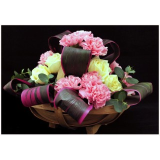 Long Low Style Mixed Flower Trug Basket Arrangement