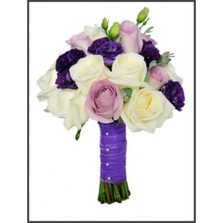 Avalanche, Memory Lane Roses, Double Purple Lisianthus & Eucalyptus Hand Tied Bouquet