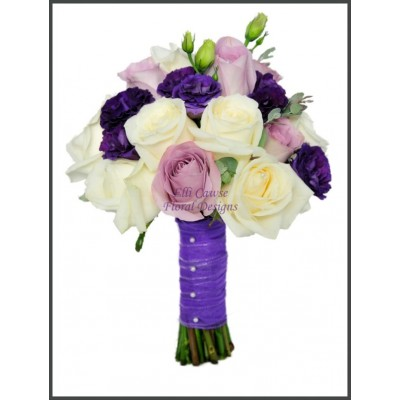 Avalanche, Memory Lane Roses, Double Purple Lisianthus & Eucalyptus Hand Tied Bouquet