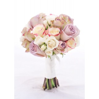 Brides Hand Tied Bouquet of Old Dutch, Amnesia & Sweetness Roses & Ivory Spray Roses