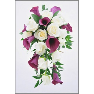 Shower Bouquet of Captain Prado Calla Lilies, Avalanche Roses & Cherry Ruscus
