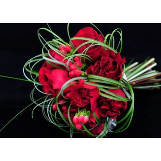 Large Red Roses, Bear Grass & Hypericum Hand Tied