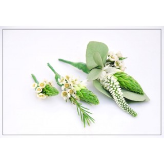 Unusual Veronica & Wax Flower Buttonholes