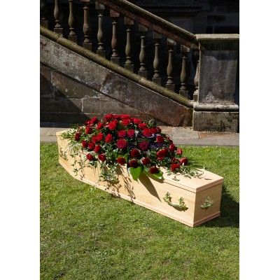 Red Rose & Foliage  Double Ended Casket / Coffin Spray