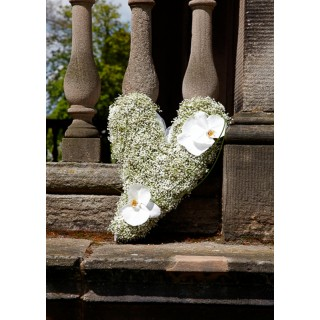 Small Swinging Heart With Gypsophila & Orchids