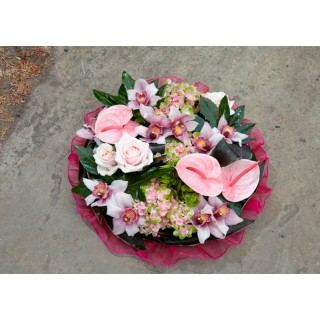 Modern Posy Pad with Orchids, Roses & Anthuriums