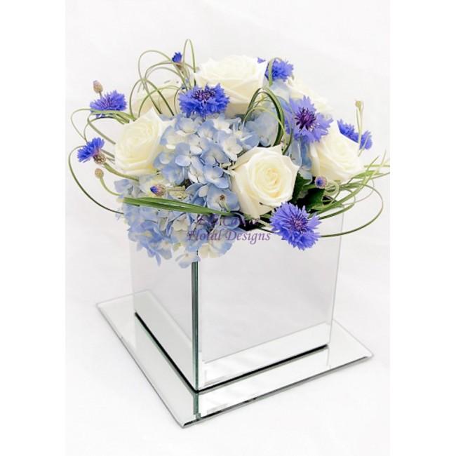 Elegant Blue Cream Flower Posy In Our Mirror Cube Vases 000