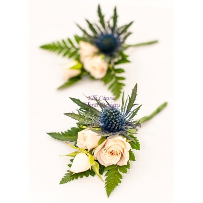 Eryngium & Spray Rose Buttonhole