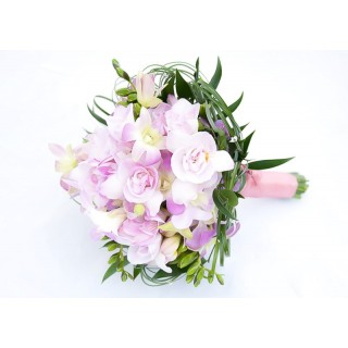Freesia, Orchid & Bear Grass Hand Tied