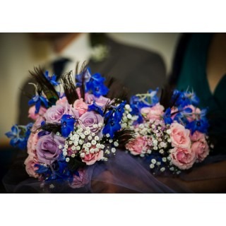Hand Tied Bouquet incorpoating beautiful Peacock Feathers