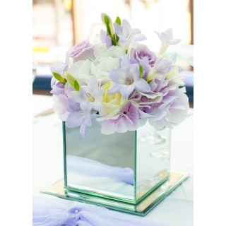 Lilac & White Mirror Cube Vases at Boys Hall Ashford