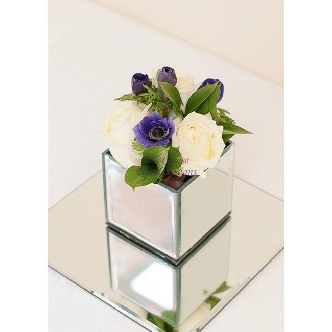 Mirror Cube Vase Hand Tied Arrangement 000 Elli Cawse Floral