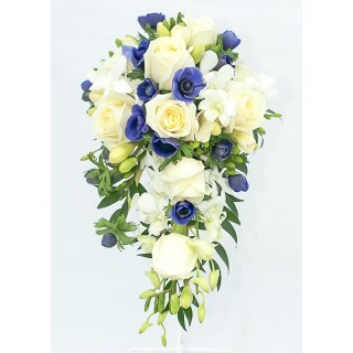 White Rose, Anemone, Freesia & Orchid Shower Bouquet